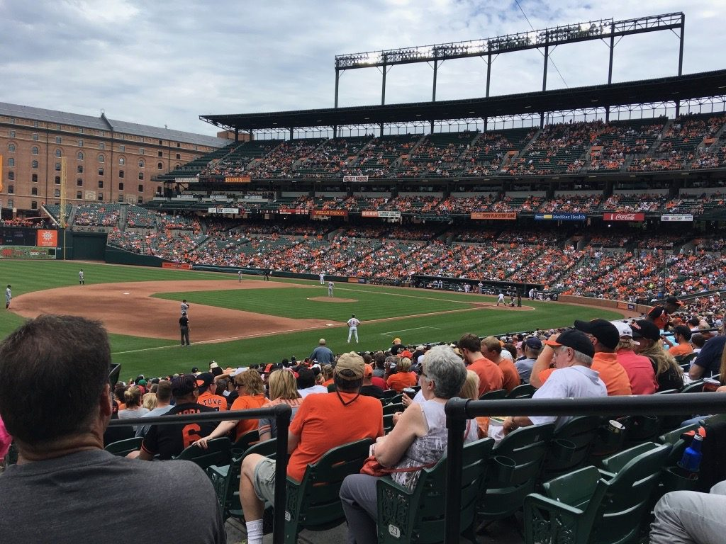 View of Camden Yards from behind third base