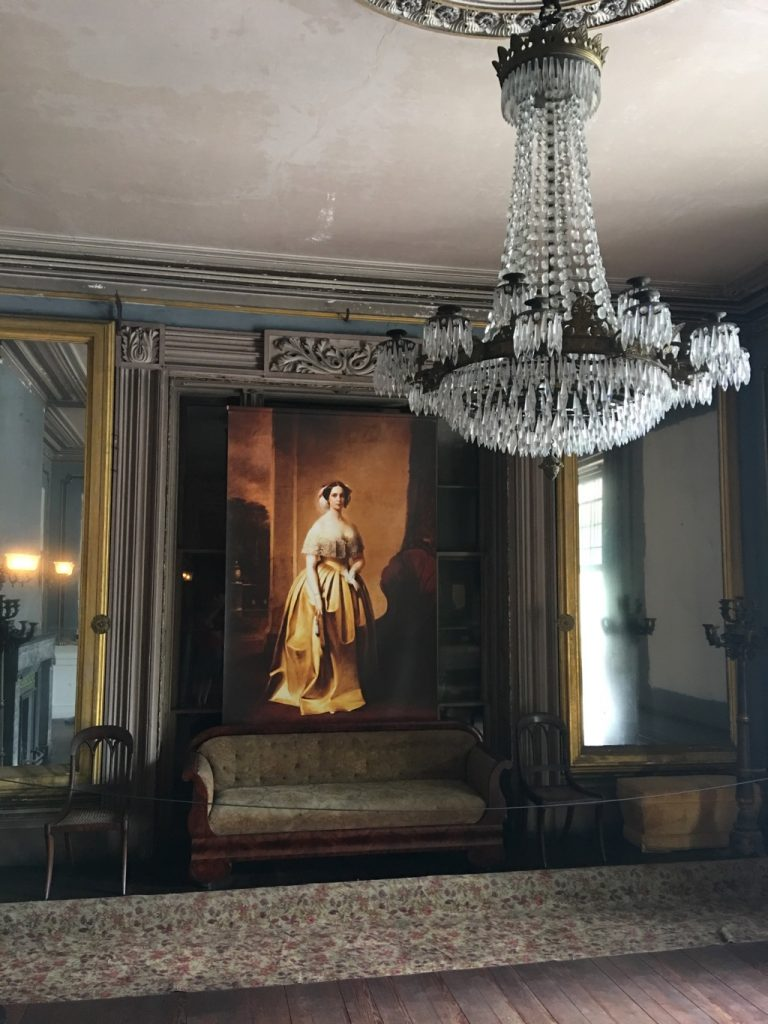 Chandelier and painting at Aiken Rhett house