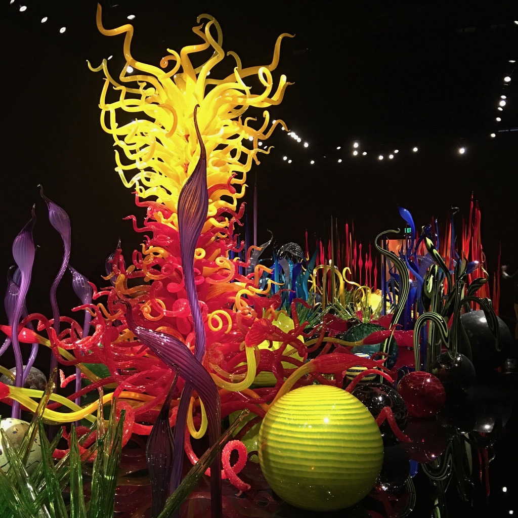 Installation of colorful blown glass by Chihuly