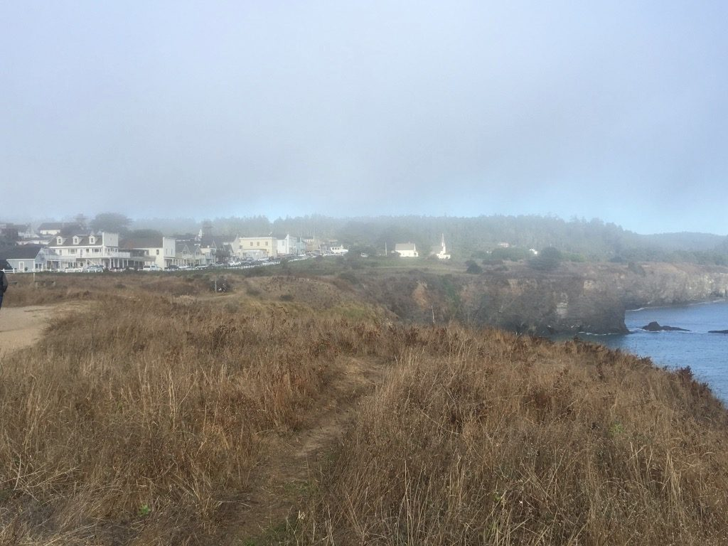 Thick fog over Mendocino CA