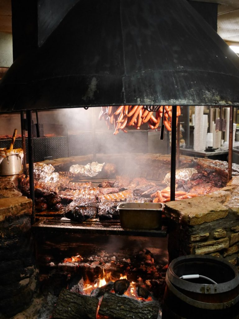 Meat being grilled at Salt Lick barbecue